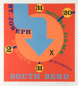 """Robert Indiana's 1978 print """"South Bend"""" is one of seven by the artist included in an exhibit, """"Bramson/Indiana/Lake,"""" from June 14 to Oct. 15, 2021, at the Lubeznik Center for the Arts in Michigan City. The two other artists are Phyllis Bramson and Mayumi Lake."""