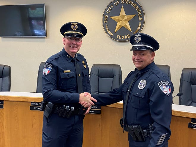 The Stephenville Police Department is happy to announce the swearing in of Ofc. Jeff Koplin, pictured here with SPD Chief Dan Harris Jr. Koplin started his career at SPD in 1999 as an animal control officer, later becoming a sworn officer. He left in 2004 and moved to Omak, Washington, where he rose through the ranks and eventually became chief of police. With a desire to come home and raise his family in Texas, Koplin and his family have returned to Stephenville.