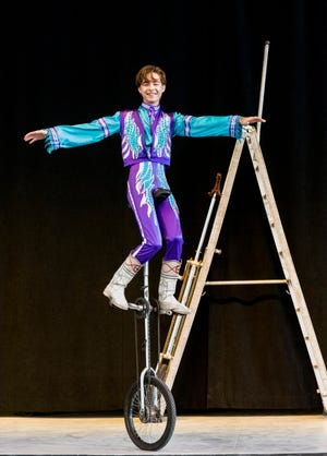 Vincent Valla Bertini performs with his family's unicycle act during the Summer Circus Spectacular put on by the Circus Arts Conservatory at The Ringling.