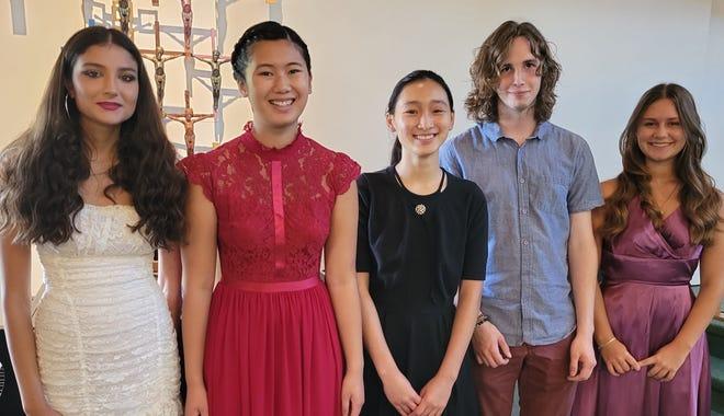 The 2021 Suncoast Music Scholarship winners include, from left, Leela Sundaram, Danae Tran, Vivian Phung, Colin Leonard, and Moriah Emrich. (Not shown: Christopher Wheaton, Nicholas Benson.)