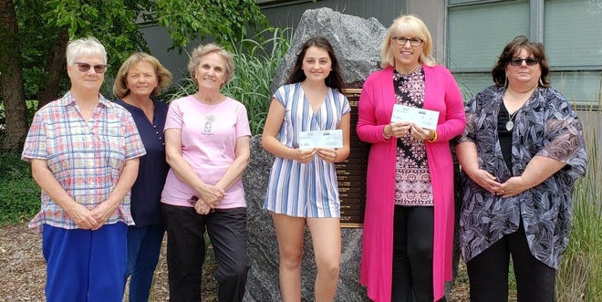 Pictured (left to right) are Marilyn Carpenter, Sue Herridge and Ginny Pettit, members of the Scholarship Selection Committee, Aimee Moore and Jill Ryan, Scholarship Recipients, and Kim Walker, Abilities Plus Executive Director.  Missing from the photo are committee members Tracy Thorp and Julie Landwehr.