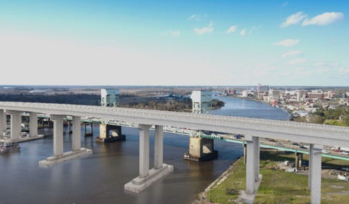 Rendering of the proposed toll bridge replacing the Cape Fear Memorial Bridge.