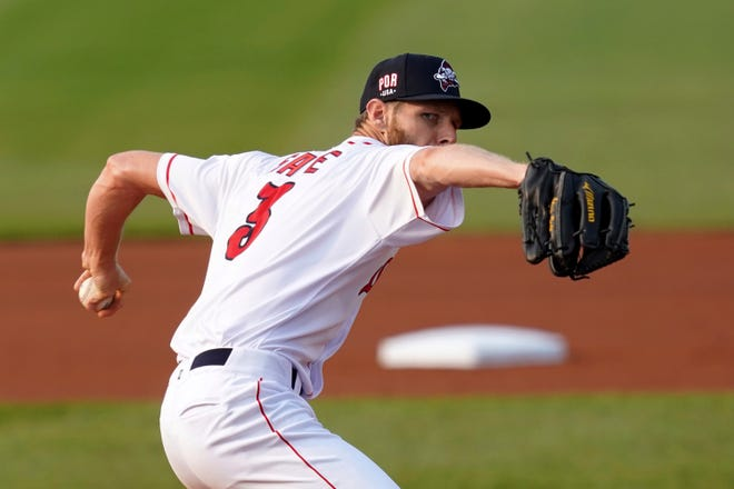 Boston Red Sox pitcher Chris Sale throws during a rehab start with the Portland Sea Dogs during the Sea Dogs' minor league game against the Harrisburg Senators in Portland, Maine.