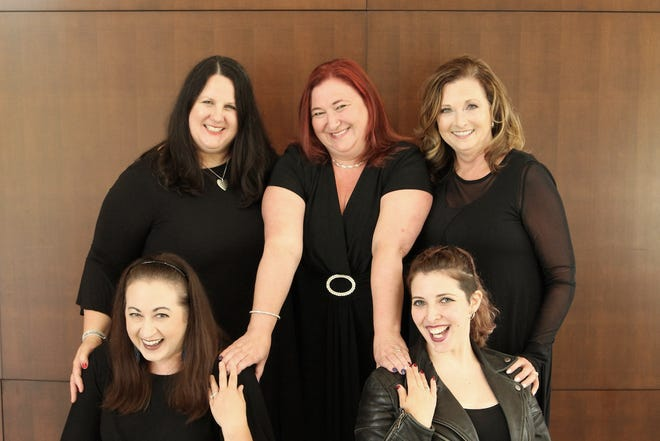 Allison Morris, Shannon Mitchell, Elizabeth Thomakos (top), Larrisa Carrick, Sarah Spies (bottom, left to right) are the cast of Love, Loss, and What I Wore.