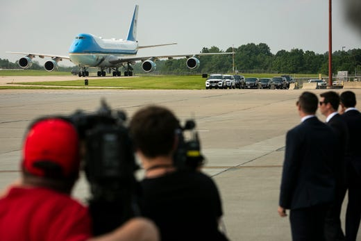 Air Force One arrives with President Joe Biden at Cincinnati/Northern Kentucky International Airport in Hebron, Ky., Wednesday, July 21, 2021, to travel to Cincinnati, for a town hall and to tour an electrical training center.