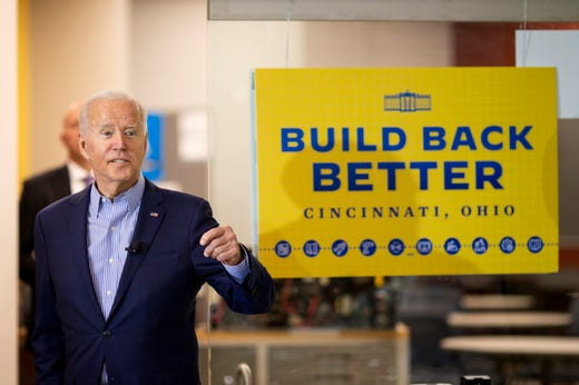 President Joe Biden visits the IBEW/NECA Electrical Training Center on Wednesday, July 21, 2021 in Cincinnati before a CNN town hall at Mount St. Joseph University.