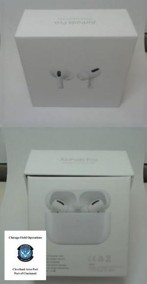 U.S. Customs and Border Protection officers in Cincinnati recently seized more than 6,000 counterfeit Apple AirPods that would have been worth about $1.3 million had they been genuine.