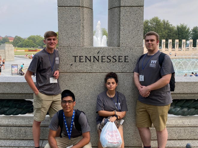 Four of the eight students representing Northwest High at the National Leadership Bowl Championship in Washington, D.C. From left to right: Devon Brooks, Vitia Ching, Gabriela Sandoval and Bridger Helm.
