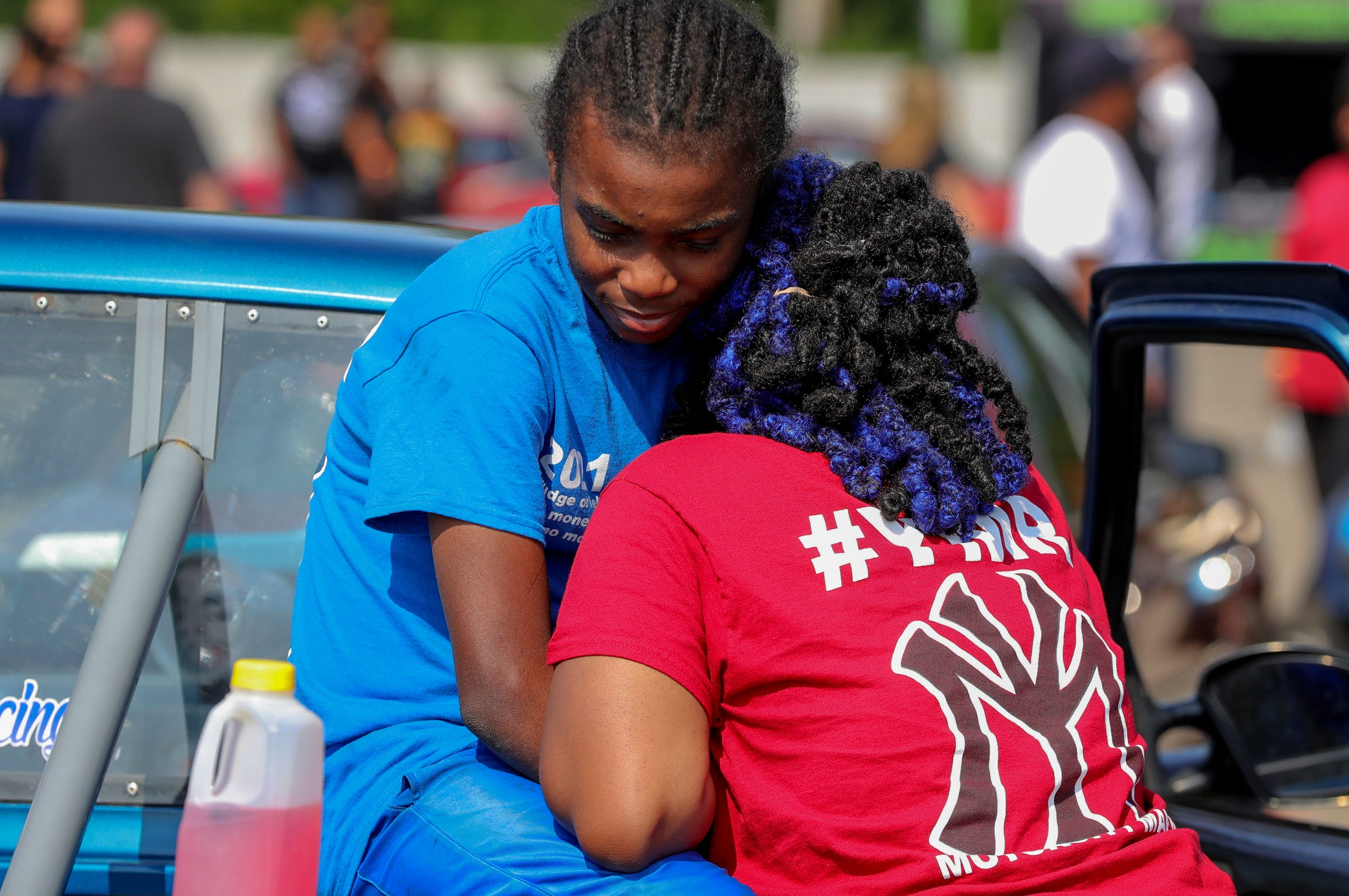 """Joemari Fox spends a quiet moment with his girlfriend Briana Poole before his pass at Lapeer International Dragway on Saturday, July 17, 2021. Briana tells him """"I love you"""" before he races."""