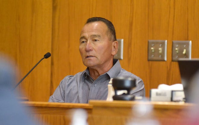 Robert Swanson of Goodman testifies Wednesday, July 21  in Marinette County Circuit Court about a man with a rifle he saw around the time a Green Bay couple was killed at McClintock Park on July 9, 1976.