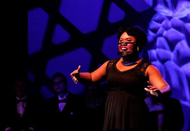 """Kenya Hughes practices her solo during the dress rehearsal of Ohio University Lancaster Theatre's """"Friends Celebrating the Music of Broadway"""" Tuesday, July 20. The show will be the group's tenth with the Lancaster Festival, and first since the coronavirus pandemic."""