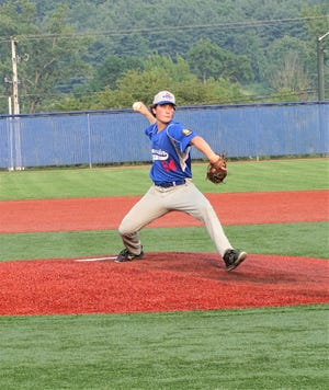 Lancaster Post 11's Gavin Rowland gets set to deliver a pitcher against Meigs Post 39 Tuesday night during the American Legion District 8 tournament at Beavers Field.