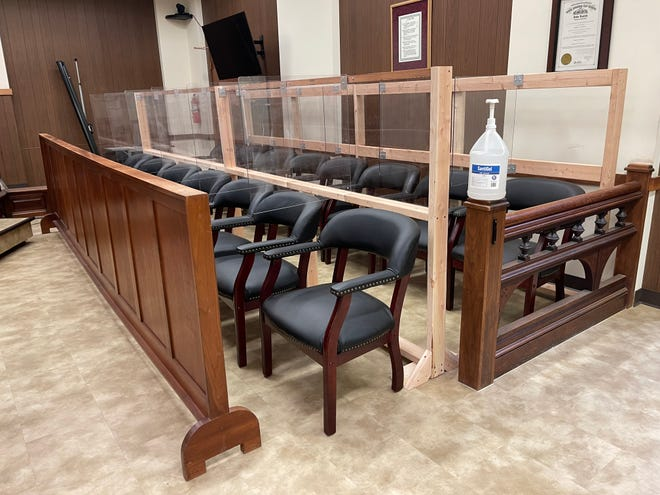 Plexiglass barriers and a jug of hand sanitizer are both common sights inside the Marion County Courthouse as it recently has implemented health and safety designs to be better fitted for the COVID-19 pandemic.