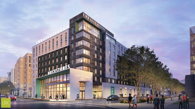 Renderings show what the Embassy Suites Hotel at The Walk on Union could look like.