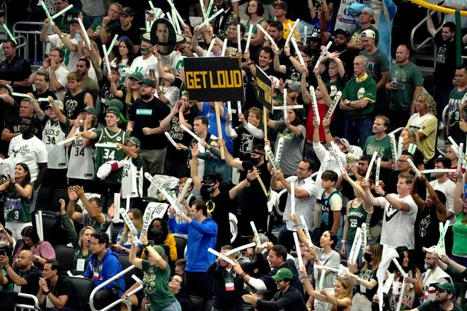 Fans cheer during a Phoenix Suns free throw during the second quarter of Game 6 of the NBA Finals at Fiserv Forum in Milwaukee on Tuesday, July 20, 2021.
