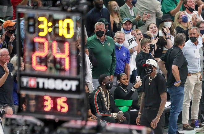 Rapper Gucci Mane seen during the first half of Game 6 of the NBA Finals Tuesday, July 20, 2021, at Fiserv Forum in Milwaukee.