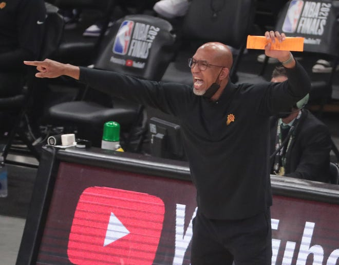 Phoenix Suns head coach Monty Williams directs his team against the Milwaukee Bucks during Game 6 of the NBA Finals at Fiserv Forum July 20, 2021.