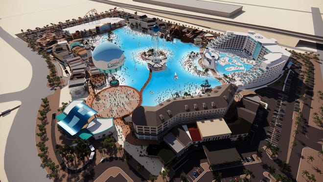 A rendering of Crystal Lagoons Island Resort, a proposed water park slated to open in 2023 in Glendale.
