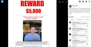 A flyer on social media calls for information in the death of Robert Cuillo.