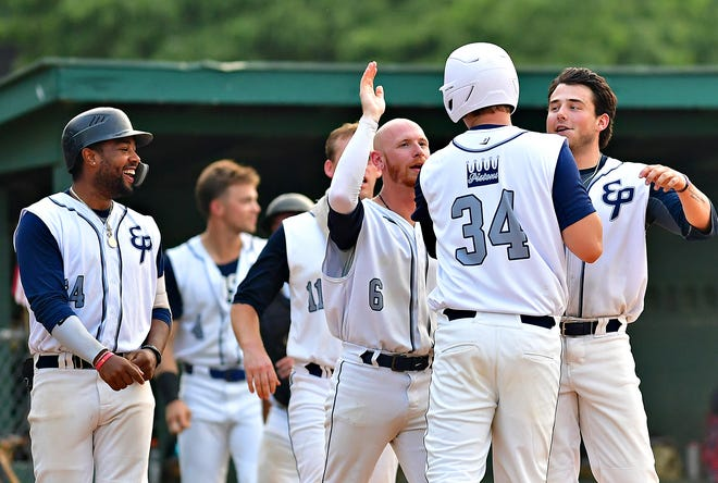 East Prospect celebrates a 1-0 win over Windsor during Susquehanna League baseball action in East Prospect, Tuesday, July 20, 2021. Dawn J. Sagert photo