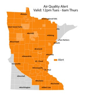 An air quality alert was issued by the Minnesota Pollution Control Agency until 6 a.m. Thursday.