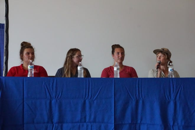 Panelists Allie Holub, Katie Fitzgerald, Miranda Nelson and Sarah Kolk discuss being women in ag at 2021 Farm Technology Days in Eau Claire, Wis.