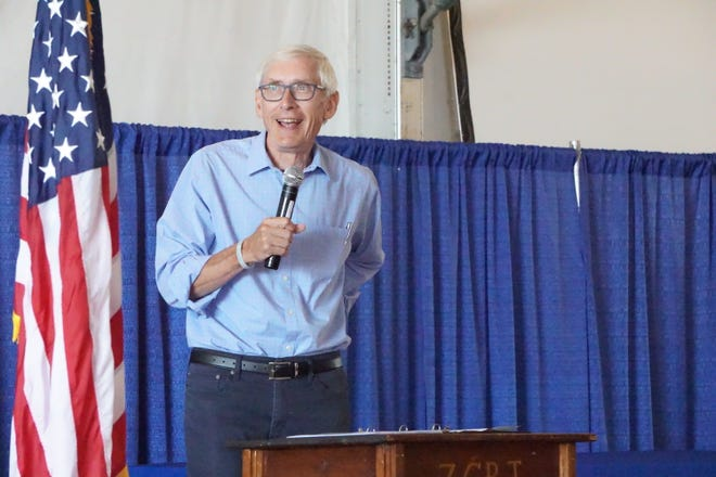 FILE PHOTO: Gov. Evers speaks at 2021 Farm Technology Days in Eau Claire, Wis.