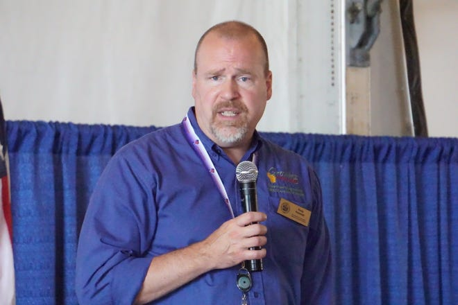 Randy Romanski addresses the crowd on opening day of 2021 Farm Technology Days in Eau Claire, Wis. Romanski was officially confirmed as Secretary of the state's Agriculture, Trade and Consumer Protection on Tuesday, Sept. 28, 2021.