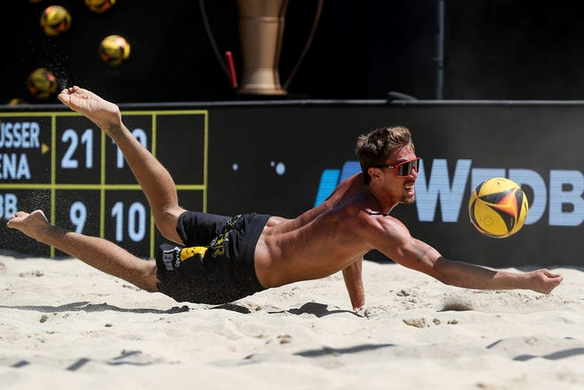 Taylor Crabb competes against Nick Lucena (not pictured) and Phil Dalhausser (not pictured) in the final during the Wilson Cup on July 26, 2020 in Long Beach, California.