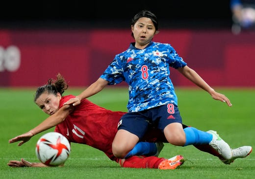 Japan's Narumi Miura (8) and Canada's Desiree Scott (11) battle for the ball during a women's soccer match at the 2020 Summer Olympics, Wednesday, July 21, 2021, in Sapporo, Japan.