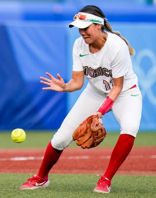Mexico's Anissa Urtez attempts to catch the ball during the softball game between Mexico and Canada on Wednesday, July 21, 2021, during the Tokyo 2020 Olympic Summer Games held at Fukushima Azuma Stadium in Fukushima, Japan.