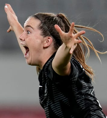 New Zealand's Gabi Rennie celebrates after scoring her side's first goal during a women's soccer match against Australia at the 2020 Summer Olympics, Wednesday, July 21, 2021, in Tokyo, Japan.