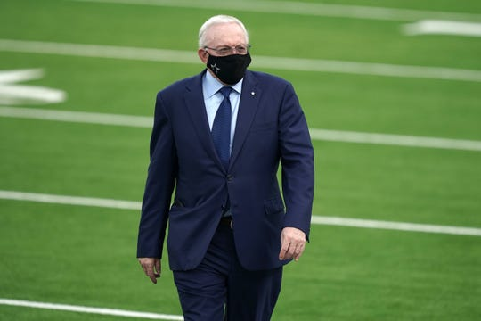 Dallas Cowboys owner Jerry Jones walks on the field before the game against the Los Angeles Rams at SoFi Stadium.