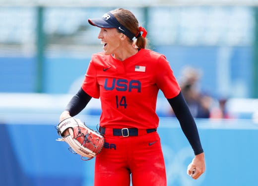 United States pitcher Monica Abbott (14) reacts during an opening round softball game against Italy on Jul 21, 2021, during the Tokyo 2020 Olympic Summer Games at Fukushima Azuma Stadium in Fukushima, Japan.