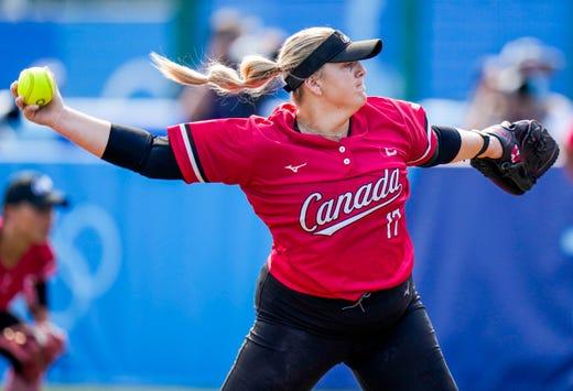 Canada's Sara Groenewegen pitches during the softball game between Mexico and Canada at the Tokyo 2020 Olympic Summer Games held at Fukushima Azuma Stadium in Fukushima, Japan.