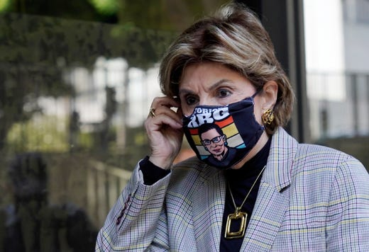 Attorney Gloria Allred, who represents several of Harvey Weinstein's accusers, arrives at a news conference following an arraignment for the convicted rapist and former movie mogul on additional sexual assault charges in California, at the Clara Shortridge Foltz Criminal Justice Center, Wednesday, July 21, 2021, in Los Angeles.