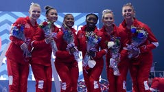 The women's Olympic team pose for a photo during the U.S. Olympic Team Trials - Gymnastics competition at The Dome at America's Center on June 27, 2021 in St. Louis.