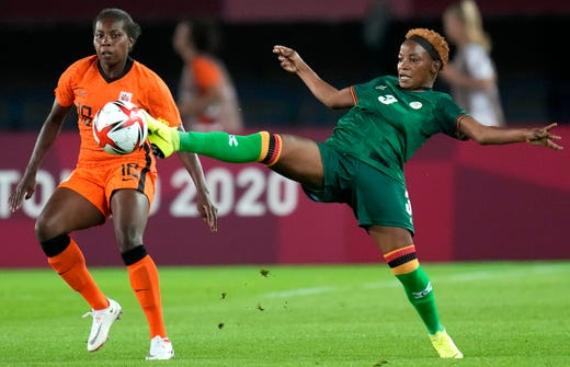 Zambia's Lushomo Mweemba (3) kicks the ball during a women's soccer match against the Netherlands at the 2020 Summer Olympics, Wednesday, July 21, 2021, in Rifu, Japan.