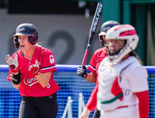 Canada's Victoria Hayward reacts during the softball game between Mexico and Canada at the Tokyo 2020 Olympic Summer Games held at Fukushima Azuma Stadium in Fukushima, Japan.