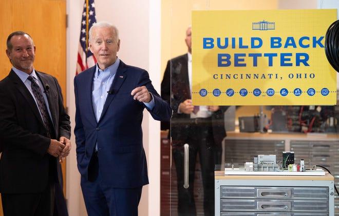 President Joe Biden tours an electrical workers training center in Cincinnati, Ohio, on July 21, 2021.