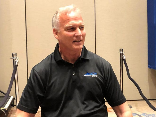 Former Georgia football coach Mark Richt talks about his Parkinson's Disease diagnosis on Wednesday July 21, 2021 in Charlotte, N.C.