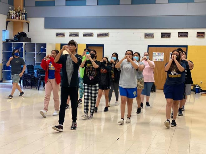 San Diego High School band practice marching skills.