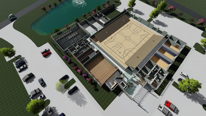 An aerial model of Hardeeville's new Recreation Center.