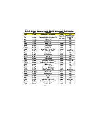 2021 SCHS Softball Schedule