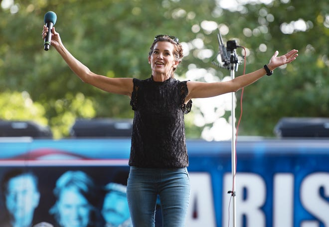 Controversial radio talk show host Wendy Bell speaks during the Arise USA! tour stop Wednesday in Beaver. The tour is traveling the country with both national and local speakers to promote faith, family and freedom.