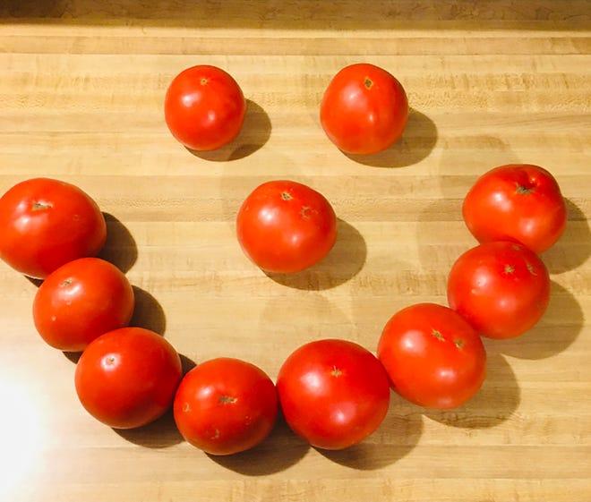 A fresh tomato sandwich always brings a smile.