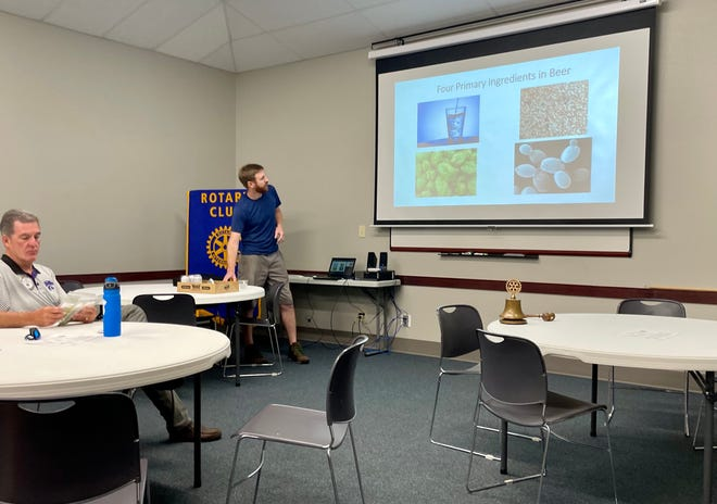 Travis Rohrberg from Walnut River Brewing Company spoke to the Rotary Club of El Dorado about the brewing process.