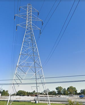 An AEP Transmission electric tower along Route 16 / Broad Street near Etna Parkway in Pataskala, Licking County.