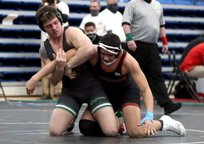 Dublin Coffman's Seth Shumate (left) was runner-up at 195 pounds in the boys Junior Freestyle competition held July 18-20 as part of the U.S. Marine Corps Junior and 16U National championships in Fargo, North Dakota.