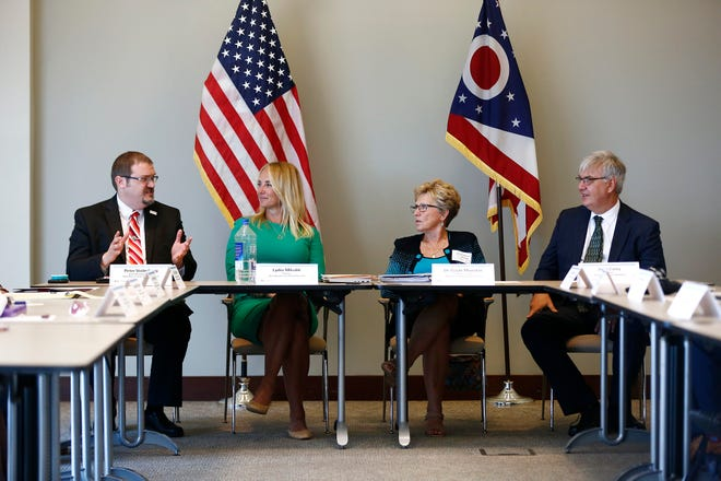 From left: Peter Voderberg, chief, Broadband Ohio, Ohio Department of Development; Lydia Mihalik, director of Ohio Department of Development; Gayle Manchin, federal co-chair of Appalachian Regional Commission; and John Carey, director of the Governor's Office of Appalachia. They are taking part in a discussion about the future of broadband in Ohio's 32 Appalachian counties on Thursday.